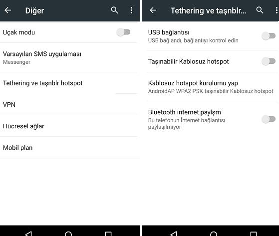 android telefondaki interneti paylaştırma