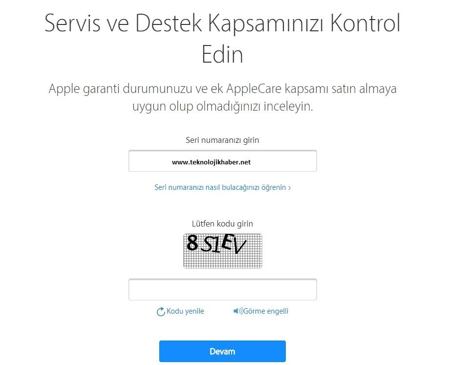 Yurtdışı iPhone garanti sorgulama
