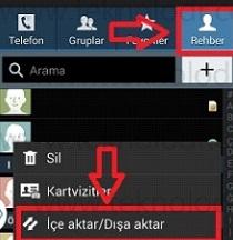 Android Samsung rehber yedekleme